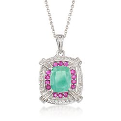 1.70 Carat Emerald and .20 ct. t.w. Ruby Pendant Necklace With .10 ct. t.w. White Topaz in Sterling Silver, , default