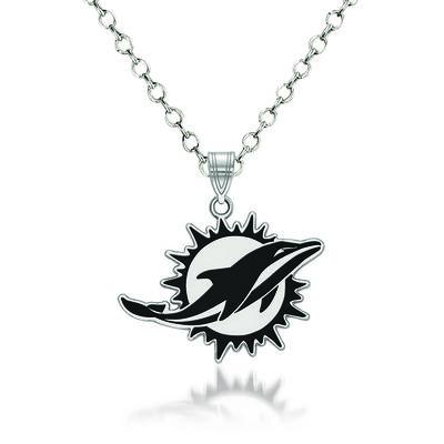 "Sterling Silver NFL Miami Dolphins Enamel Pendant Necklace. 18"", , default"