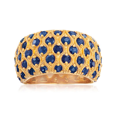 3.00 ct. t.w. Sapphire Multi-Row Ring in 18kt Gold Over Sterling, , default