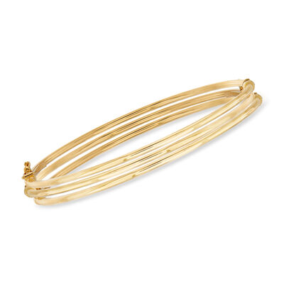 Italian 14kt Yellow Gold Jewelry Set: Three Polished Bangle Bracelets