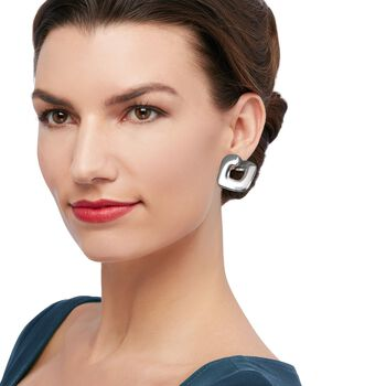 "Italian Sterling Silver Front-Facing Square Hoop Earrings. 1"", , default"