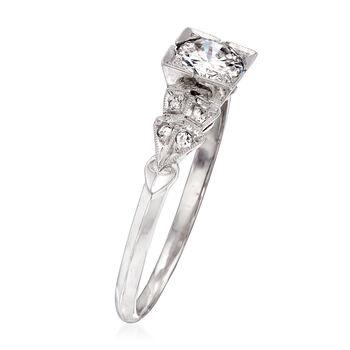 C. 1990 Vintage .58 ct. t.w. Diamond Ring in Platinum. Size 7.75