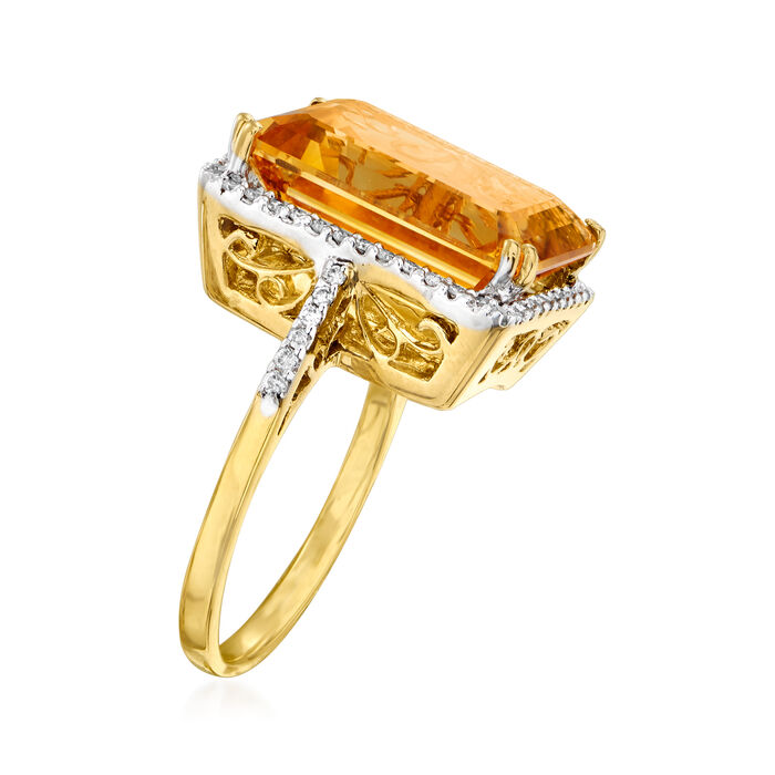 C. 1980 Vintage 9.30 Carat Citrine and .45 ct. t.w. Diamond Ring in 18kt Yellow Gold