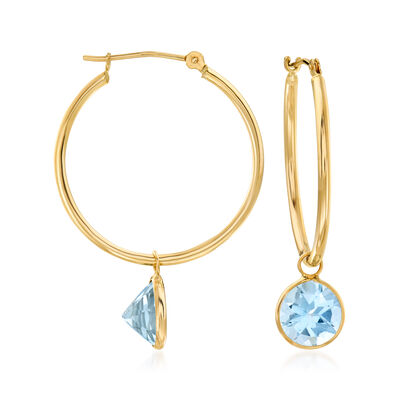 4.00 ct. t.w. Sky Blue Topaz Interchangeable Hoop Earrings in 14kt Yellow Gold