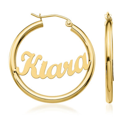 14kt Yellow Gold Name Hoop Earrings, , default