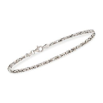 2.3mm Sterling Silver Square Byzantine Bracelet
