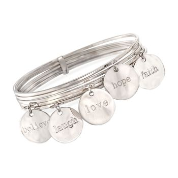 Italian Sterling Silver Five-Row Inspirational Charm Bangle Bracelet, , default
