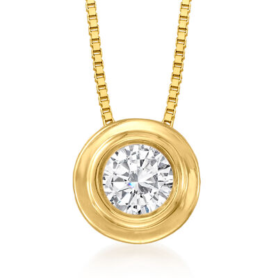 .25 Carat Double Bezel-Set Diamond Solitaire Necklace in 14kt Yellow Gold