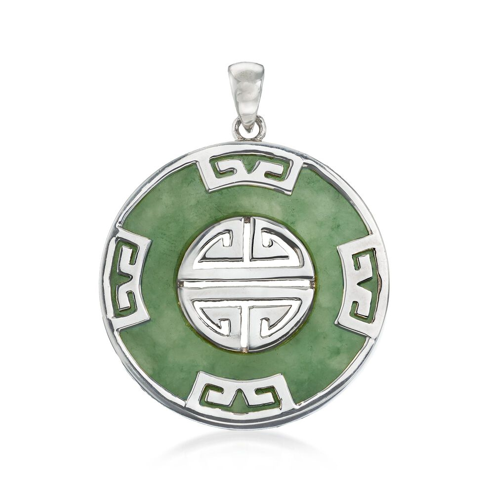 Green Jade Longevity Chinese Symbol Circle Pendant In Sterling
