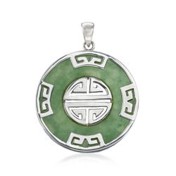 "Green Jade ""Longevity"" Chinese Symbol Circle Pendant in Sterling Silver , , default"