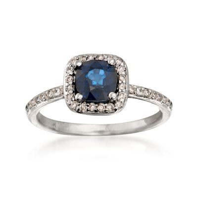 1.20 Carat Sapphire and .30 ct. t.w. Diamond Ring in 14kt White Gold, , default