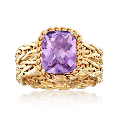 3.00 Carat Amethyst Woven Ring in 14kt Yellow Gold, , default