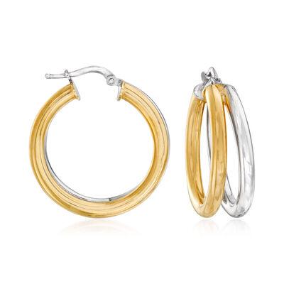 Italian Two-Tone Sterling Silver Hoop Earrings
