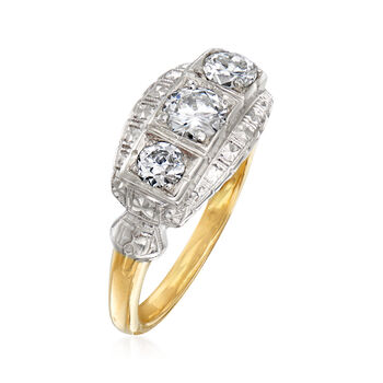 C. 1950 Vintage .85 ct. t.w. Diamond Three-Stone Ring in 14kt Two-Tone Gold. Size 7