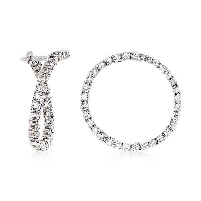 "1.00 ct. t.w. Diamond Front-Facing Hoop Earrings in 14kt White Gold. 3/4"", , default"