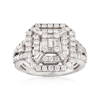 1.46 ct. t.w. Diamond Square-Top Ring in 14kt White Gold. Size 7, , default
