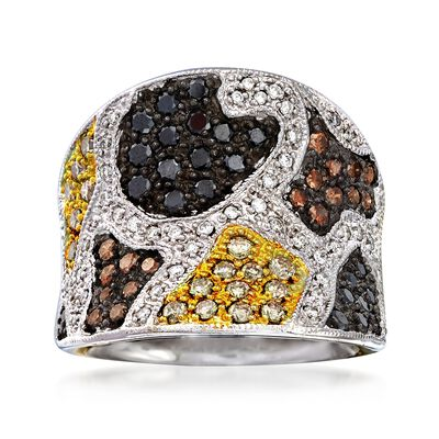 C. 2000 Vintage 1.56 ct. t.w. Multicolored Diamond Animal Print Ring in 14kt White Gold, , default