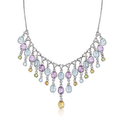 33.50 ct. t.w. Multi-Stone Bib Necklace in Sterling Silver