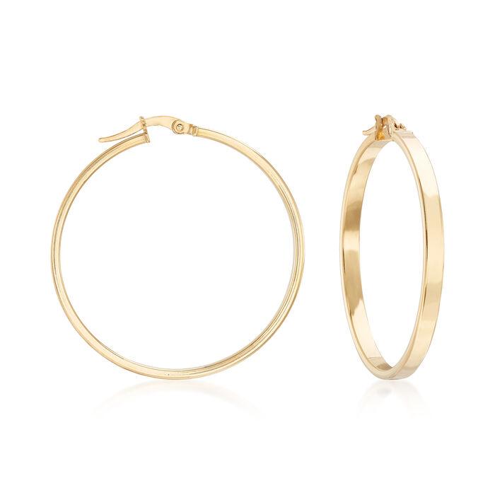 "Italian 14kt Yellow Gold Squared-Edge Hoop Earrings. 1 1/2"", , default"
