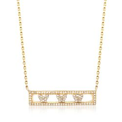 ".29 ct. t.w. Diamond Butterfly Bar Necklace in 14kt Yellow Gold. 18"", , default"