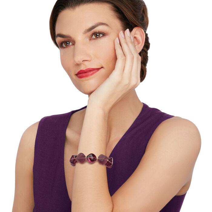 Italian Purple Murano Glass Bead Bracelet in 18kt Yellow Gold Over Sterling Silver