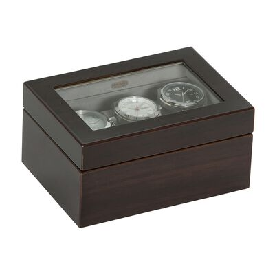"Mele & Co. ""Granby"" Mahogany-Finished Wooden Three-Part Watch Box with Glass Top, , default"