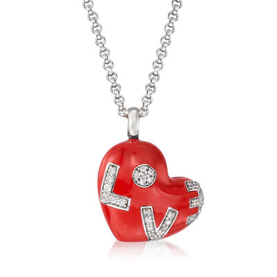 "Belle Etoile ""Love"" Red Enamel and .47 ct. t.w. CZ Heart Pendant in Sterling Silver, , default"