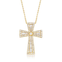 1.54 ct. t.w. Round and Baguette Diamond Cross Necklace in 14kt Yellow Gold, , default