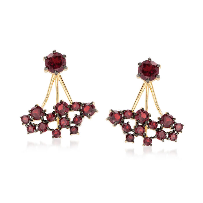 4.40 ct. t.w. Garnet Jewelry Set: Stud Earrings and Front-Back Jackets in 18kt Gold Over Sterling , , default