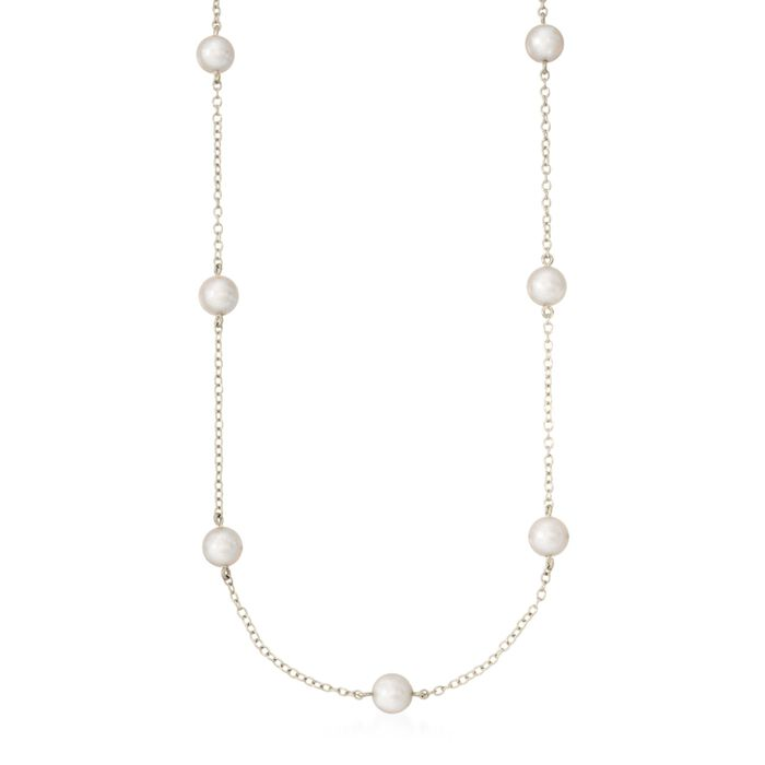 """Mikimoto 5-5.5mm A+ Akoya Pearl Necklace in 18kt White Gold. 18"""", , default"""