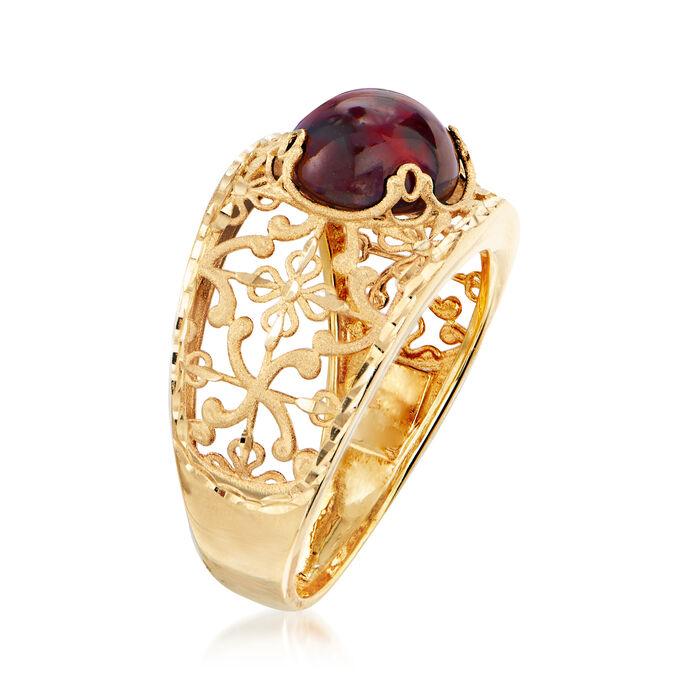 Italian 30.00 Carat Garnet Floral Ring in 14kt Yellow Gold