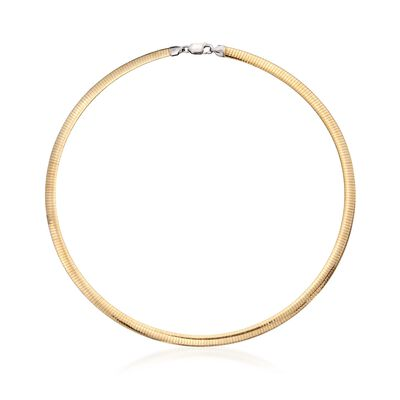 Italian 5.5mm Two-Tone Sterling Silver Reversible Omega Necklace, , default