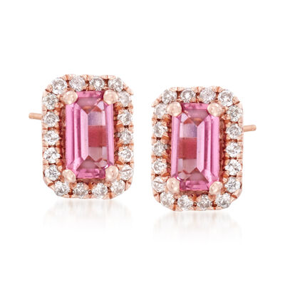 .50 ct. t.w. Pink Tourmaline and .15 ct. t.w. Diamond Stud Earrings in 14kt Rose Gold