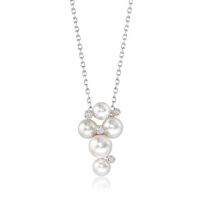"Mikimoto ""Bubbles"" 4.7-6.2mm A+ Akoya Pearl Cluster Necklace with Diamond Accents in 18kt White Gold, , default"