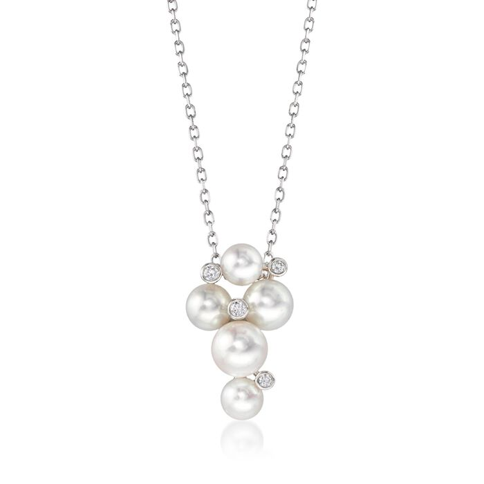 """Mikimoto """"Bubbles"""" 4.7-6.2mm A+ Akoya Pearl Cluster Necklace with Diamond Accents in 18kt White Gold"""