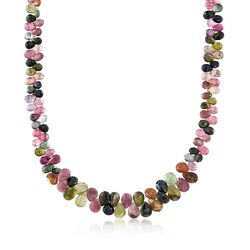 "Multicolored Tourmaline Bead Cluster Necklace in Sterling Silver. 16"", , default"
