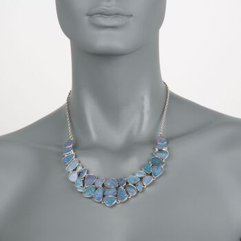 "Blue Opal Doublet Mosaic Bib Necklace in Sterling Silver. 18"", , default"