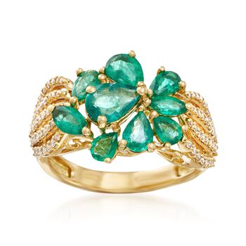 1.80 ct. t.w. Emerald and .32 ct. t.w. Diamond Cluster Ring in 18kt Yellow Gold, , default
