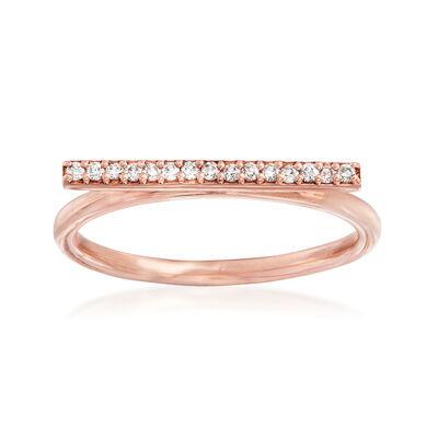 C. 1990 Vintage .12 ct. t.w. Diamond Horizontal Bar Ring in 14kt Rose Gold, , default