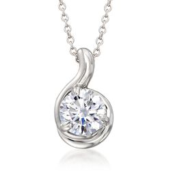 "2.00 Carat CZ Solitaire Pendant Necklace in Sterling Silver. 16"", , default"