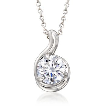 "2.00 Carat CZ Solitaire Pendant Necklace in Sterling Silver. 16"", , default"