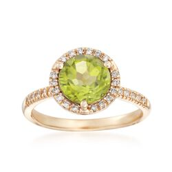 2.00 Carat Peridot and .18 ct. t.w. Diamond Ring in 14kt Yellow Gold, , default