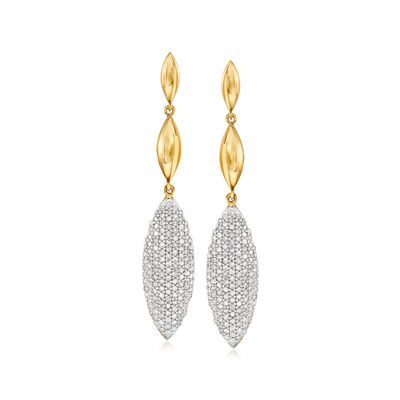 1.00 ct. t.w. Pave Diamond Marquise-Shaped Drop Earrings in 14kt Yellow Gold, , default