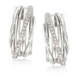 .42 ct. t.w. Diamond Crisscross Drop Earrings in 14kt White Gold , , default