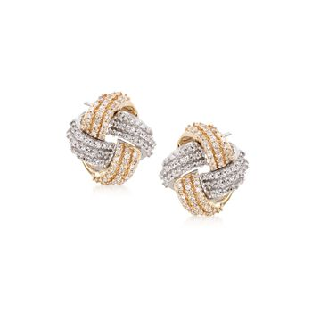 .35 ct. t.w. Diamond Love Knot Earrings in 14kt Two-Tone Gold, , default