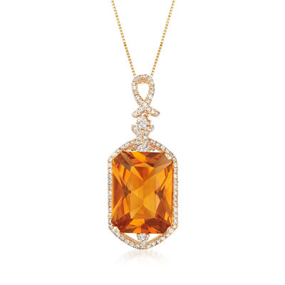 8.75 Carat Orange Citrine and .51 ct. t.w. Diamond Necklace in 14kt Yellow Gold, , default