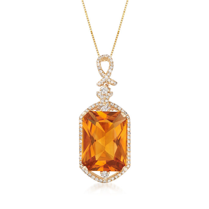 8.75 Carat Orange Citrine and .51 ct. t.w. Diamond Necklace in 14kt Yellow Gold