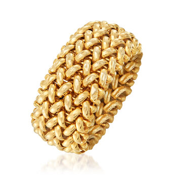 Italian 14kt Yellow Gold Beaded Mesh Ring