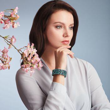 100.00 ct. t.w. Blue Zircon and 1.10 ct. t.w. Brown Diamond Bracelet in Sterling Silver, , default