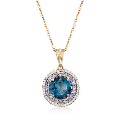 4.50 Carat London Blue Topaz Necklace with Tanzanites and Diamonds in 14kt Gold Over Sterling, , default